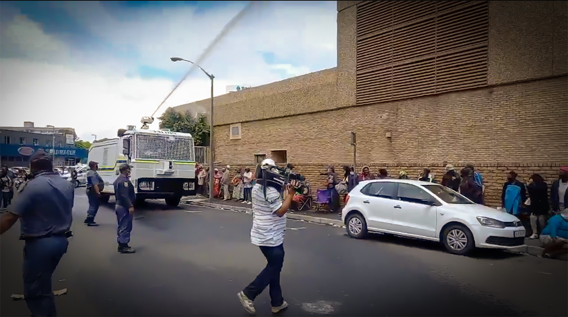 SAPS Water Cannons SASSA Grant Recipients in Bellville